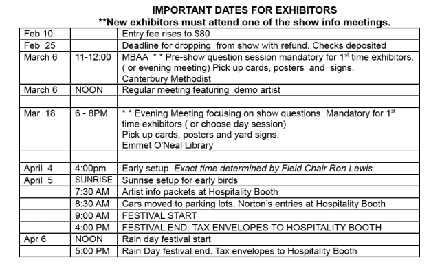 Important Dates Spring Art Show