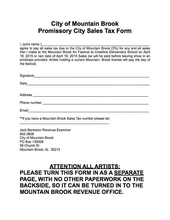 Mountain Brook Sales Tax Promissory