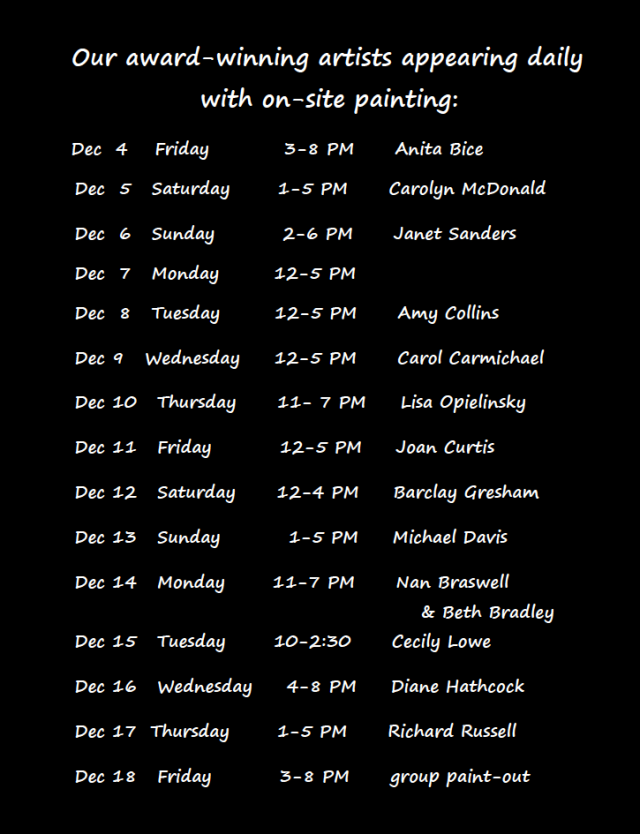 List of demo artists, Holiday Art Show 2015